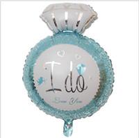 feuille de ballon saint-valentin achat en gros de-3D Diamant Anneau Feuille Ballons Amour ballons Saint Valentin Fête Désherbage Décorations Proposer Mariage Mariage Hélium Ballon Cadeaux