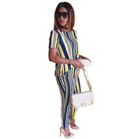Wholesale Shits Long Sleeve Woman - 2017 Casual Women Clothing Sets Pants Suit Summer Two Piece Set Fashion Striped Print T shit+Pants Womens Two Piece Sets