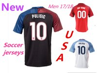 Wholesale Mens Shirt Usa - New mens 2017 2018 USA Soccer Jerseys customized USA Team Jerseys PULISIC DEMPSEY WOOD MIAZGA JOHNSON Jersey Shirts Free Shipping