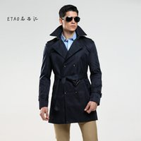 Wholesale Trenchcoat Style - Wholesale- Size Customize Quality Slim double breasted mens middle-long trench coat Europe trenchcoat jacket male coat trench free shipping