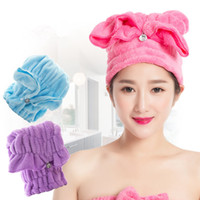 Venta al por mayor- Magic Hair Fast Dry toalla Cap de baño Wrap Twist Hat Bowknot Soild Quick Seca cabeza de casquillo para las mujeres Ladies Bath Tools
