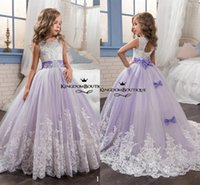Wholesale Kids Bridesmaid Dresses Beaded - 2017 Flower Girls Dresses With Bow Lace Applique Beaded Tulle Jewel Neck Kids Ball Gowns Formal Junior Bridesmaid Dress For Weddings