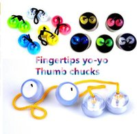 Wholesale Pink Thumbs - Decompression Toy LED finger balls Yo-yo Skill toy Thumb Chucks Fidget Toys Bundle Control Roll Game Glow in Dark Finger With the Retail