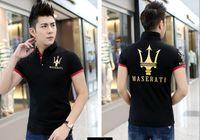 Wholesale Men Dress Shirts New Style - New short-sleeved men T-shirt lapel cotton Slim Maserati print shirts dress big yards Men poloshirt