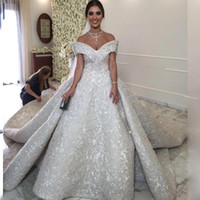 Wholesale Plus Size Aline Wedding Dresses - Luxury Applique Beaded Wedding Dresses Off The Shoulder V-Neck Sleeveless Princess Bridal Gown Gorgeous Chapel Train Sexy ALine Wedding Gown