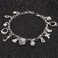 Wholesale Led Bezel - Wholesale- Bracelet 925 jewelry silver plated Cross Charm Bracelet Fashion Jewelry Bracelet Leading Shrimp Buckle 20CM Chain Free Shipping