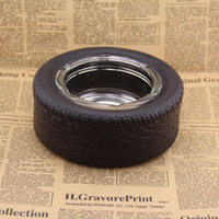 Wholesale Safe Tire - Unique Rubber Big Tires Ashtray Safe And Clean Glass Ashtray Creative Desktop Decoration Smoker Best Gift
