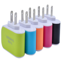Wholesale Chinese Led Wall Lights - 100X LED Light Triple 3USB ports 3.1A USB AC US EU candy color wall charger home plug for samsung s6edge plus for iphone 6 plus 6s B-SC