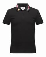 Wholesale Men Slim Short Sleeve Polo - New Arrival 2017 Brand Men Fashion Short POLO snake adornment Casual Camisetas Masculinas Plus Size M-3XL 16522