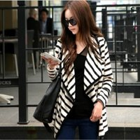 Wholesale Wholesale Women S Peplum Jacket - Wholesale- New Hot Casual Fashion Women Long Sleeve Striped Peplum Tops Cardigan Blouse Jacket Size S M L XL