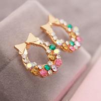 Wholesale Rhinestone Bow Earrings - Colorful crytstal rhinestone bow earring stud jewelry manufacturers bow-knot earring stud wholesale free shipping