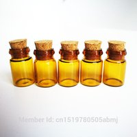 Wholesale Brown Glass Bottles Cork - Wholesale- 0.5ml Tiny Small brown Clear Cork Glass Bottles Vials For Wedding Holiday Decoration Christmas Gifts
