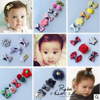 Wholesale Infant Flower Hair Clips - 5pcs lot Newborn Bow Clip Fashion Cute Printed Flower Infant Baby Mini Small Bow Hair Clips Hairpins Little Hair Kids Girls Hair Accessories