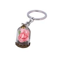 cloches en verre antique achat en gros de-Mode Antique Bronze Forever Rose Fleur En Verre Bouteille Porte-clés Sac Porte-clés Car Bells Mignon Chaveiro