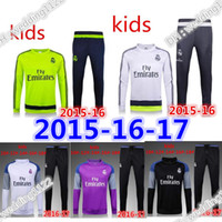 Wholesale Children S Wear Boys - 2016 2017 Kids suit Sleeve Real Madrid Tracksuit Jogging Boys Soccer kit Football Suits Youth Sport Wear Children Ronaldo training tracksuit