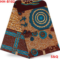 Wholesale High quality hot sale fashion super wax hollandais african wax prints fabric dutch wax fabric for sewing yards cotton fabric HH B102
