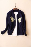 Wholesale Stand Colar - Women's Embroidered Swan Cardigan - Long Sleeve Knit Jacket with Stand Colar Girls FAshion