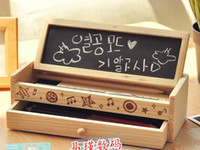 Wholesale Diy Wooden Pencil Case - Wholesale- Free shipping kids wooden pencil case toys DIY work multi-functional pen boxes,double receive a case toys for children