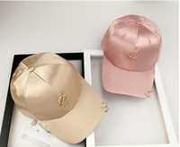 Wholesale Wild Hips - hot women silk satin metal ring baseball hats solid color duck caps tide people leisure wild hip hop hat cap female shade summer