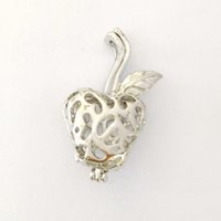 Wholesale Gold Apple Pendant - Apple Cage Pendant Mountings, Can Open and Hold Pearl Gem Bead Locket Cage, DIY Fashion Jewelry Charms