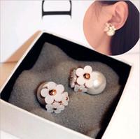 Wholesale Ear Piercing Black Studs - Korea Fashion Jewelry Cute Pearl Daisy Flower Front and Back bubble Stud Earrings Double Sided Women pierced ears Mix