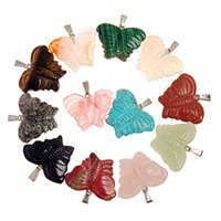 Wholesale Hand Butterfly Craft - Hand Crafted New Bohemia Fashion Popular Crystal Pendant Animal Butterfly Made of Semi Gems Opal Rose Quartz Jewelry Women Men Free Shipping