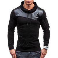 Wholesale Leather Sleeve Sweatshirt Men - 2017 New Spring Men Fight Leather Sweatshirt Fashion Casual High Quality Ultra-Thin Teenager Hooded Jacket 3-Color S-2XL
