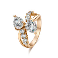 Wholesale Teardrop China - Hotsale High Quality Yellow Gold Plated AAA CZ Sparky Teardrops Ring for Girls Women for Party Wedding JR0385