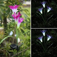 Wholesale Solar Led Lamp Lily - Wholesale-Solar Powered Lily Flower LED Light Garden Yard Lawn View Lamp Artificial Lily Garden Party Light Color Changing Convert #84501