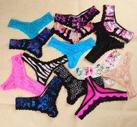 Wholesale Low Rise V Thong - 50PCS Lot Sexy Women's Underwear Lot Lace V-string T Back Panties Thongs G-string