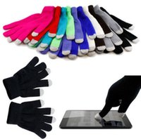 Wholesale wholesale wool gloves for women - Christmas Touch Screen Gloves Winter Outdoor Cycling Gloves For Men And Women Knit Wool Five Fingers Gloves KKA2523