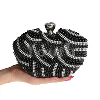 Wholesale Cell Phone Purses Handmade - Chic Pearls crystal clutch evening bags handmade beads bridal purse party bridesmaid pearls Diamond handbags in 3 colors luxury - S03114