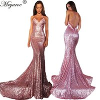 Echtes Bild Frauen Mode Rose Rosa Glitzer Sequined Meerjungfrau Prom Kleider 2017 Spaghetti Straps Criss Cross Back Sexy Backless Formal Gowns