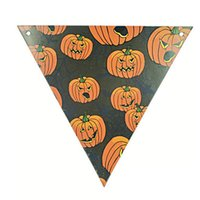 Barato Outdoor Outdoor Halloween-Atacado- 1 pcs Halloween Bandeiras PE Halloween Festival Papel Bunting Flâmula Banner Garland Outdoor Indoor Home Party Decoração