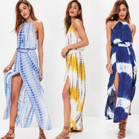 Wholesale Maxi Dye - Summer Fashion 2017 plus size nightclub tops tie dye print cheesecloth maxi dress empire printed dress