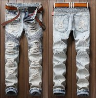 Wholesale Cheap Trouser Jeans - cheap big hole jeans homme biker skinny jeans men high quality male denim pants beggar masculino motorcycle fashion trousers personalized