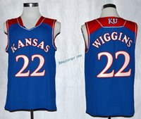 Wholesale Kansas Rugby - Kansas Jayhawks College 22 Andrew Wiggins Jersey Shirt Home Blue Rev 30 New Material Wiggins Kansas Jayhawks Uniforms Hot Sale Men Size