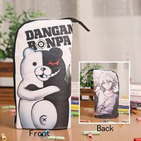 Wholesale Silver Pen Holders - Wholesale- Anime Danganronpa Monokuma Waterproof PU Leather Stationery Pouch Brush Pot Pen Holder Pencil Case Bag Office School Supplies