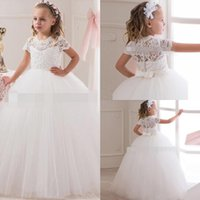 Wholesale Girls Transparent Dress - 2016 New Collection Flower Girl Lace Dress Short Sleeve Ball White Birthday Girl Dress Tulle Kids Transparent Button Back