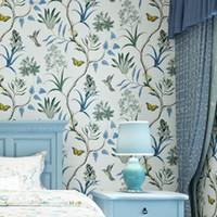 tapetenbaum vögel großhandel-3D Moderne Tapeten Home Decor Flower Tapete 3D Non Woven Wall Papierrolle Vogel Bäume Wallpaper dekorative Schlafzimmer Tapeten