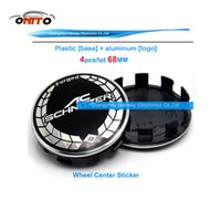 Wholesale Bmw Hubs - TOP 10clip 4pcs lot black white AC Schnitzer Cover Car Wheel Center Hub Cap 68MM Auto Logo Emblem Wheel Badge Cover car styling