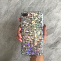 Wholesale Iphone Crocodile Leather Luxury - Holo Croc Cases for iPhone 7 X Case Glitter Luxury Laser Crocodile Leather Soft Cover for iPhone 7 Plus 6 6s 8 Plus