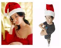 Wholesale Kids Santa Costumes - DHL Free shipping New Christmas Cosplay Hats Santa Red Plush Christmas Party Hat Holiday Costume Caps Adult Headgear Velvet Santa cap 0250