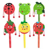 Wholesale Toy Wooden Tambourine - Wholesale- 1pc Baby Kids Cartoon Animal Hand Bell Toy Wooden Rattle Drum Musical Instrument Tambourine Ring Random color