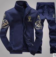 Wholesale Velvet Men Sport Pants - Hot New plus thick velvet sports men suit sweater+pants sportswear (3 colors)