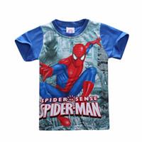 Wholesale Batman Superman Shirts - New 2017 Children Boys Spiderman T-Shirts Summer Short-sleeve t Shirts Boys Kids Casual Clothes Roupa Infantil Batman v Superman Movies