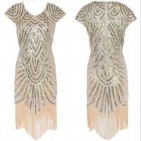vücut bakıcısı akşam önlükleri toptan satış-2017 Altın Çay Boyu Kokteyl Elbiseleri Parti Akşam Kısa Kısa Kollu ile Püskül V Boyun Pist Kısa Bling Örgün Maxi Törenlerinde Abiye