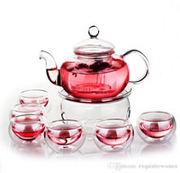 Wholesale Glass Pot Cup - High Quality Heat Resistant Flower Teapot Set Tranparent Glass Tea Pot Set Infuser Teapot+Warmer+6 Cup Free Shipping