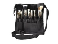 Wholesale Makeup Brushes Belt - Black Makeup Brush Holder Professional PU cosmetic Bag Artist Belt Strap Protable Cosmetic Brush Bag DHL