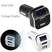 Atacado-Universal Dual USB Car Charger 3.1A Voltímetro Adapter Charge para iPhone iPad Samsung Telefone Móvel Monitor LED Voltagem Meter